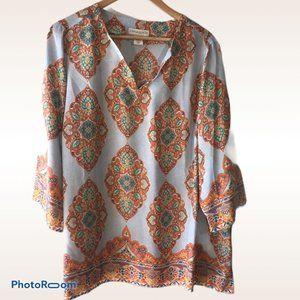 Cynthia Rowley Light Blue & Orange Moccoran Shirt